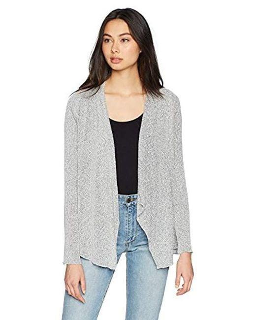 Three Dots Gray Boucle Sweater Knit Short Loose Cardigan