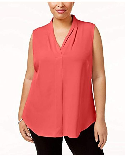 Calvin Klein - Red Plus Size Sleeveless Inverted Pleat Blouse - Lyst