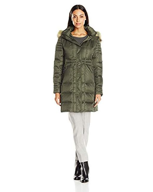 Vince Camuto - Green Down Coat With Faux Fur Trim Collar - Lyst
