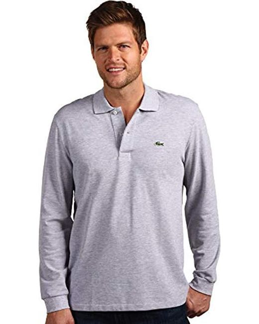 6314e1a7a Lacoste - Gray Long Sleeve Pique Classic Fit Chine Polo Shirt for Men - Lyst  ...