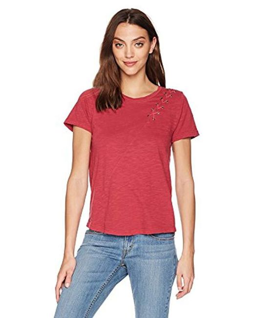 Lucky Brand Red Lace Up Shoulder Tee