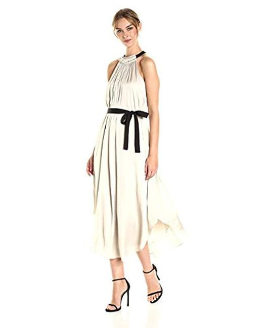 Halston Heritage - Natural Sleeveless High Ruched Neck Gown Tie - Lyst