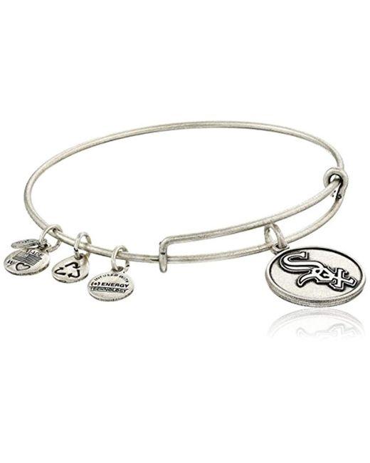 ALEX AND ANI - Metallic Chicago White Sox Cap Logo Expandable Bangle Bracelet - Lyst