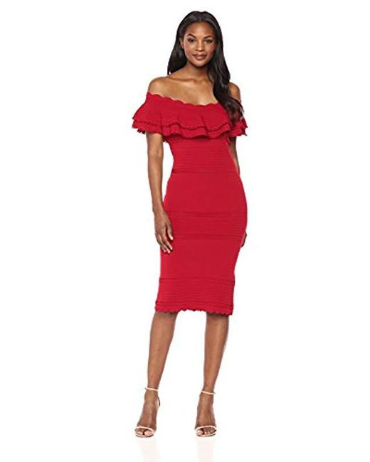 Eliza J - Red Off-the-shoulder Sweater Dress - Lyst