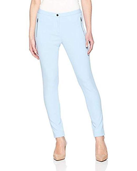 Calvin Klein - Blue Petite Scuba Crepe Side Zipper Pant - Lyst