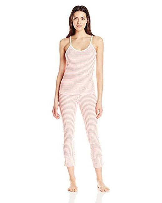 Splendid - Pink Pique Capri Pajama Set - Lyst