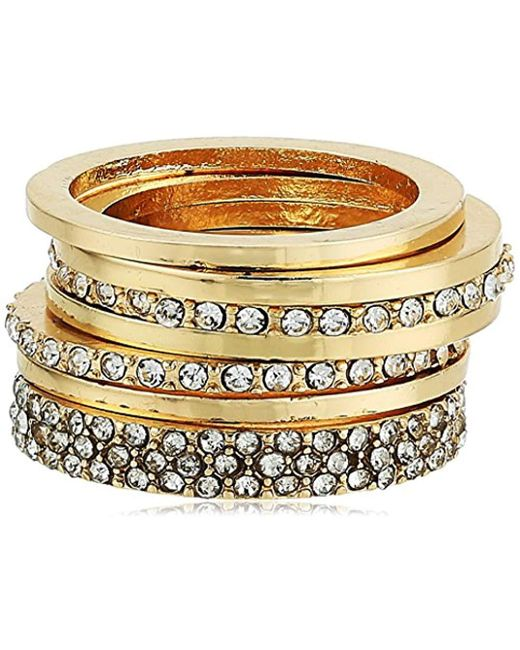 Guess - Metallic S Five-piece Dainty Stack Ring Set - Lyst