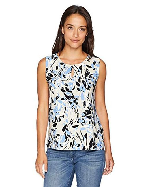 a4b7f57b2fc4d8 Lyst - Kasper Petite Tree Leaves Printed Front Pleat Ity in Blue ...