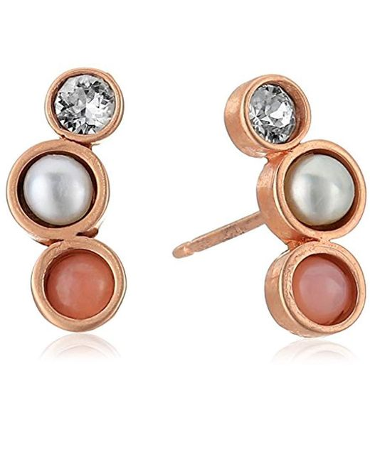 Dogeared - Metallic Playing By Ear Two Hole Lip Card Trio-pink Opal, Pearl Crystal Stud Earrings, Rose Gold - Lyst