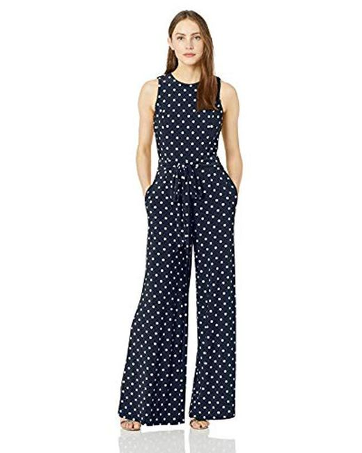 Tommy Hilfiger Blue Printed Jersey Jump Suit