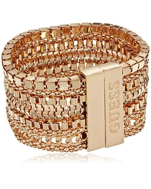"""Guess - Metallic S Multi Chain Wide Bracelet With Magnetic Closure 7.5"""" With 2"""" Extender - Lyst"""