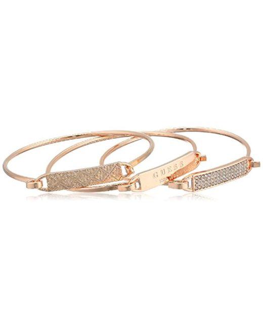 Guess - Metallic 3 Piece Tension Id Bangle Bracelet - Lyst