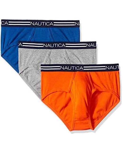Nautica - Blue Comfort Cotton Underwear Fly Front Brief-multi Pack for Men - Lyst