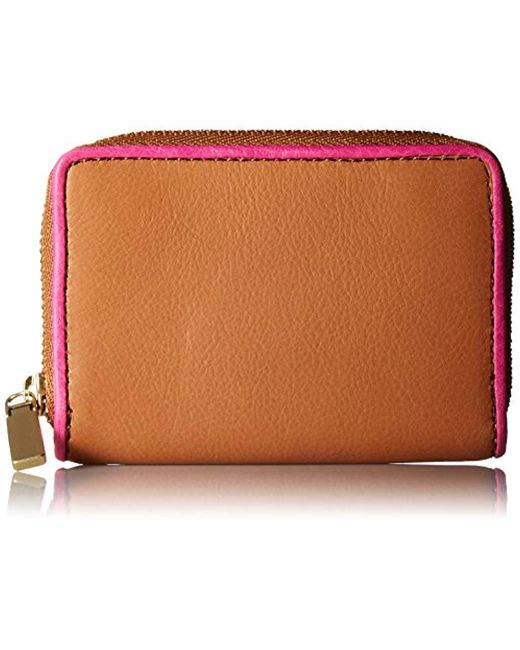 Fossil - Brown Rfid Mini Zip Wallet Wallet - Lyst