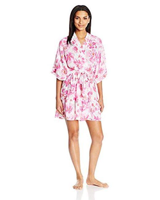 Kensie Pink Printed Kimono Robe