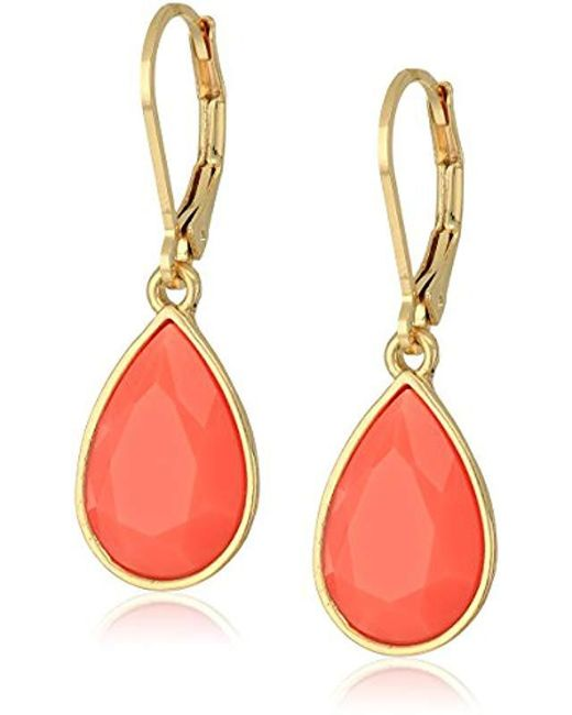 Nine West - Multicolor Gold-tone And Coral Tear Drop Earrings - Lyst