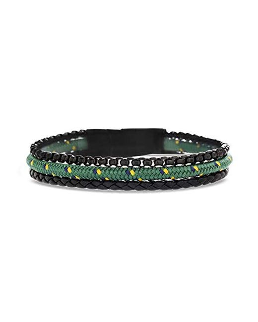Ben Sherman - Black Braided Leather And Rolo Box Chain With Green Cord 3 Strand Bracelet In Black Ip Stainless Steel, Green, 8 for Men - Lyst