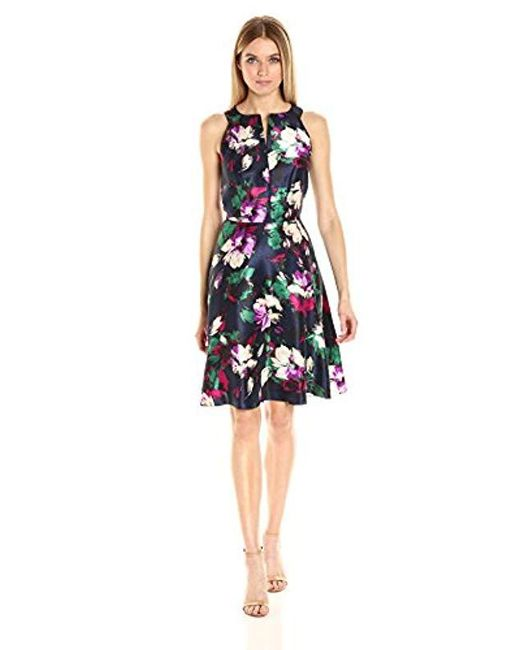 Nine West - Multicolor Shantung Fit And Flared With Cf Neck Drop - Lyst