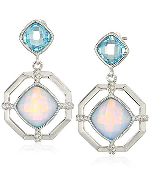 Judith Jack - Sterling Silver And Blue Opal Post Drop Earrings - Lyst