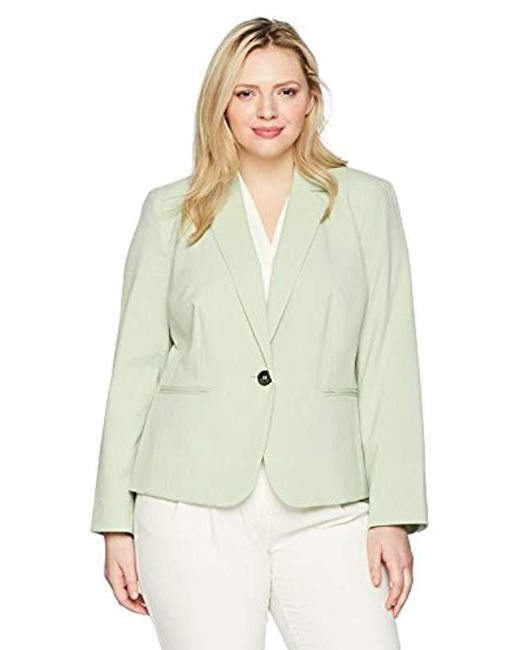 Nine West - Green Size Plus Bi Stretch 1 Button Jacket With Notch Collar - Lyst