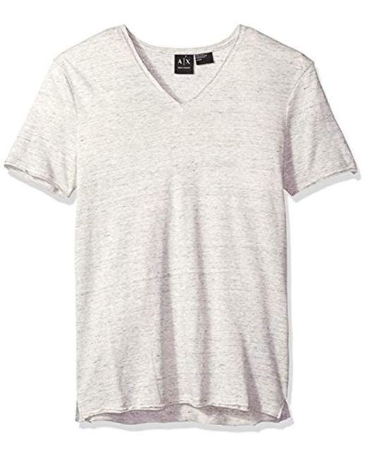 Armani Exchange - Gray | Cotton Linen Vneck Tee for Men - Lyst