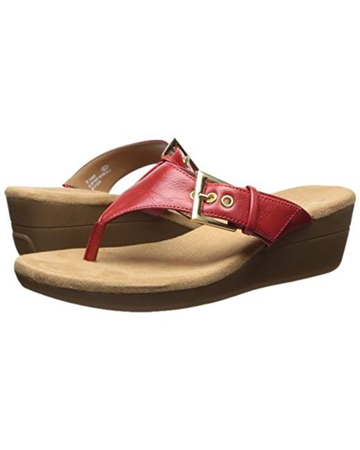 65912e7b23cc ... Aerosoles - Red Flower Wedge Sandal - Lyst ...