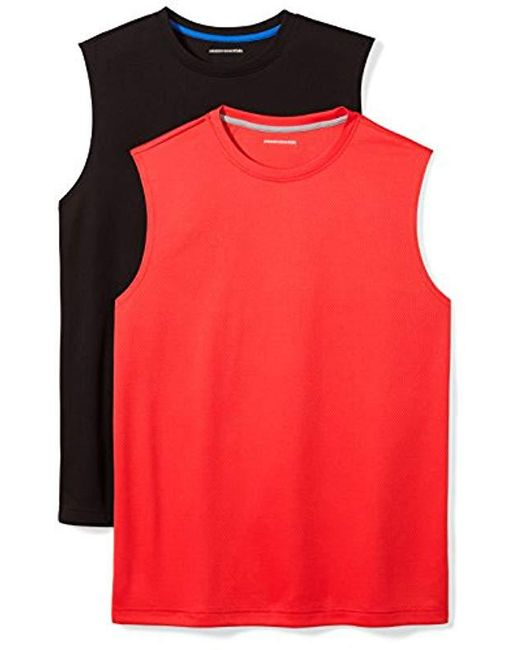 eaca8acd Amazon Essentials - Black 2-pack Performance Muscle T-shirts for Men - Lyst  ...
