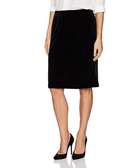 Kasper - Black Velvet Elastic Waist Skirt - Lyst
