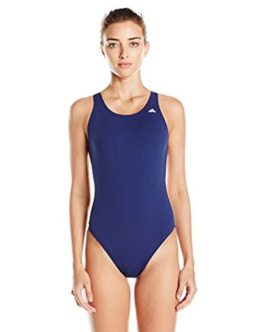 acbed0d252c47 Adidas - Blue Solid V-back One Piece Swimsuit - Lyst ...