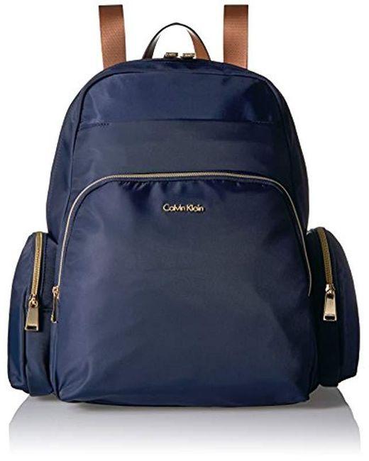 38ebc66643fa Calvin Klein - Blue Nylon Multi Pocket Backpack - Lyst ...