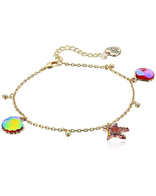 Betsey Johnson - Multicolor S Starfish And Seashell Anklet - Lyst
