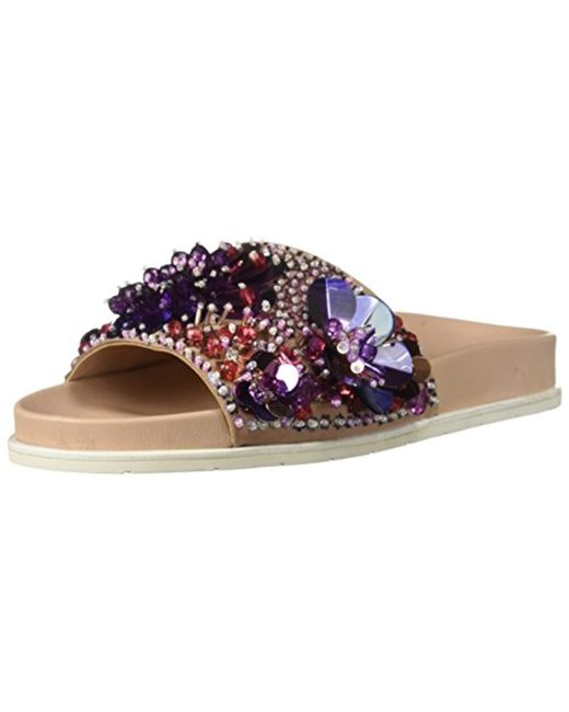 Kenneth Cole - Pink Women's Xenia Sequin-embellished Pool Slide Sandals - Lyst