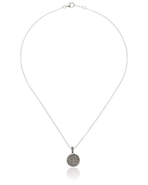 """Judith Jack - Metallic Sterling Silver Marcasite And Crystal Pave Reversible Circular Pendant Necklace, 16"""" - Lyst"""