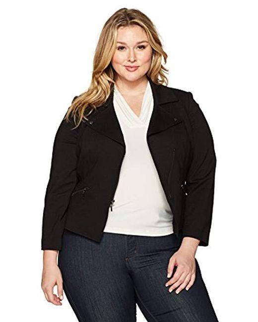 Kasper - Black Plus Size Compression Ponte Zipper Front Jacket, - Lyst