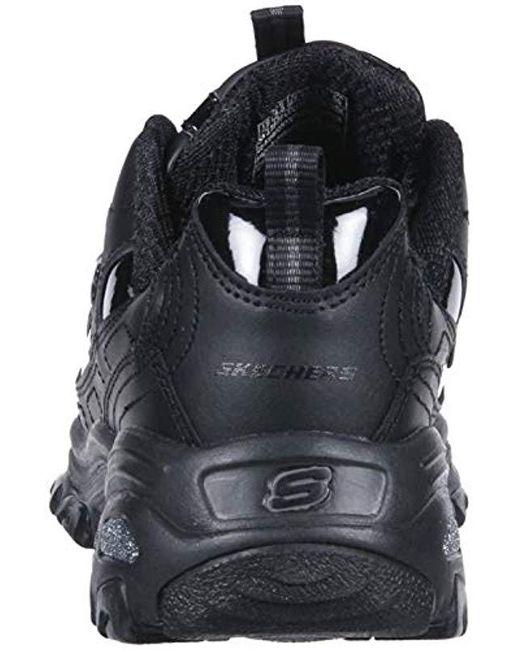 Skechers Leather D'lites latest Trend Sneaker in Black