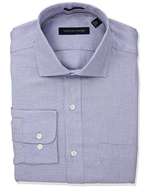 Tommy Hilfiger - Blue Non Iron Regular Fit Woven T Spread Collar Dress Shirt for Men - Lyst