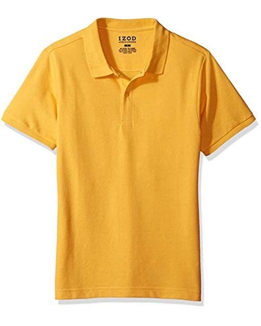 de44e2c660e9 Lyst - Izod Uniform Young Short Sleeve Pique Polo in Yellow for Men ...