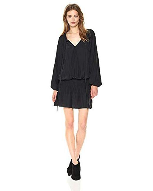 Ramy Brook - Black Paris Elastic Waist Long Sleeve Blouson Dress - Lyst