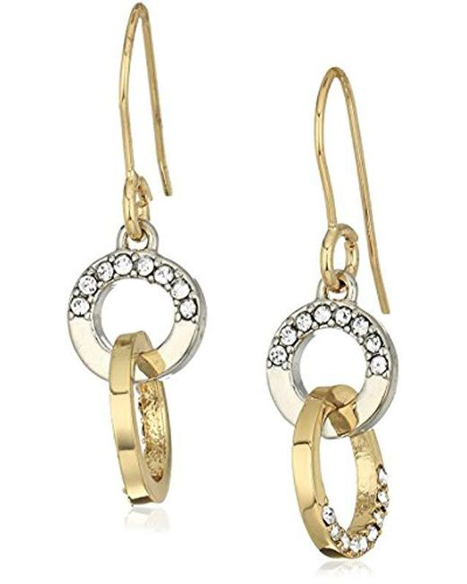 Kenneth Cole - Metallic Kenneth Cole New Trinity Rings Two-tone And Crystal Drop Earrings - Lyst