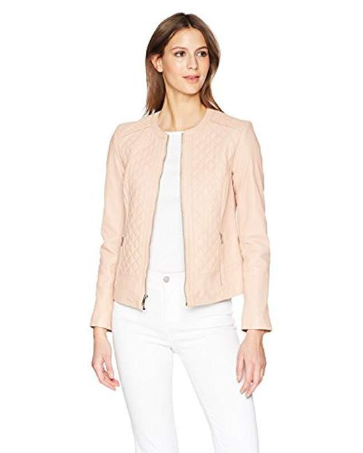 Cole Haan - Natural Jewel Neck Quilted Leather Jacket - Lyst