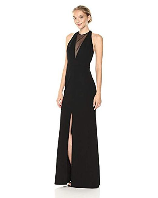 1b97a83c5b5 Vera Wang - Black Sleeveless Crepe Gown With Veiled Deep V Neck - Lyst ...
