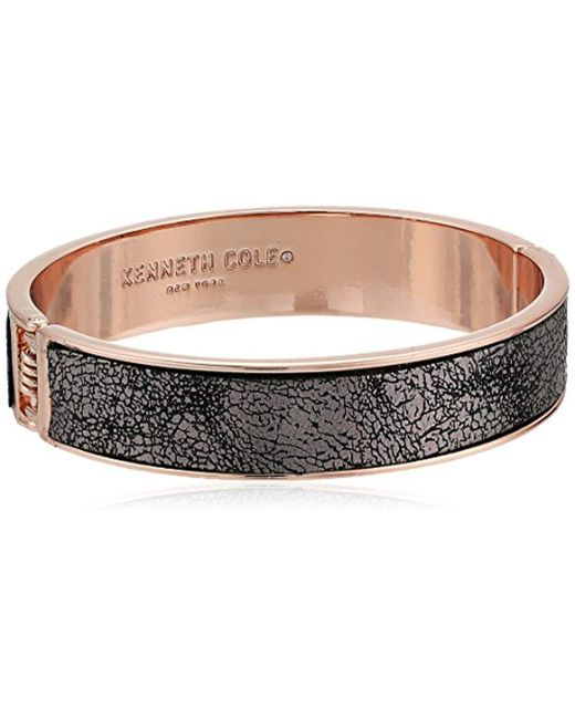 Kenneth Cole - Gray Supercharged Collection Rose Gold Hinge With Grey Leather Bangle Bracelet - Lyst