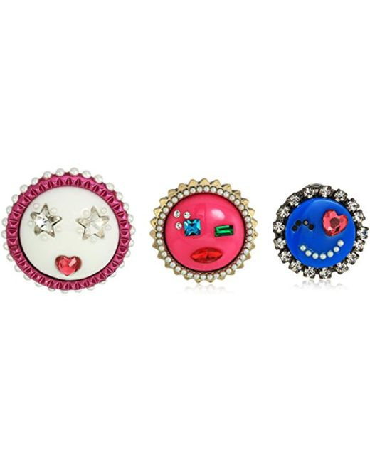 Betsey Johnson - Multicolor Harlem Multi-tone Trio Emoji Pin - Lyst