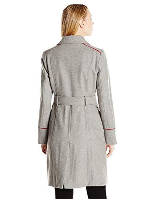 5dbe9125212c3 Lyst - Vince Camuto Double-breasted Wool-blend Trench Coat in Gray ...