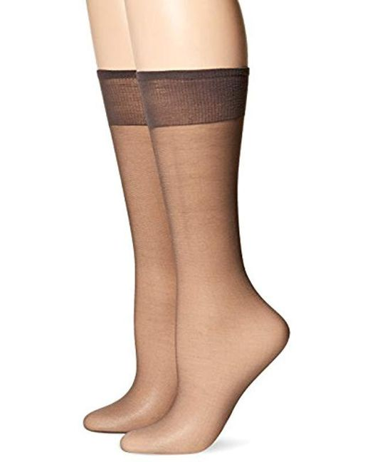 d08db410b Lyst - Hanes Silk Reflections 2-pack Knee High Sandalfoot in Brown ...