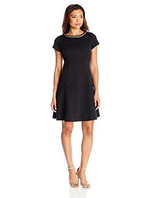 Ellen Tracy - Black Petite Short Sleeve Fit And Flare Dress With Neckline Embelishment - Lyst