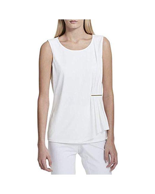 Calvin Klein - White Sleeveless Top With Gathered Bar - Lyst