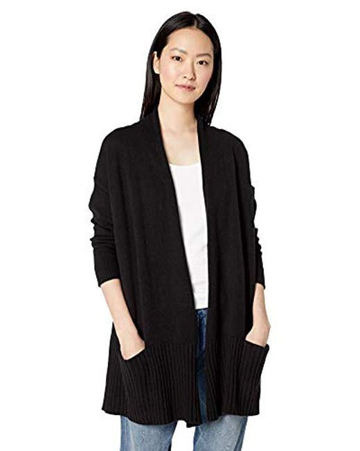 Daily Ritual - Black Cocoon Open-front Cardigan Sweater - Lyst