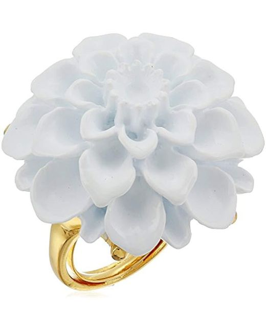 Kenneth Jay Lane - Gold White Flower Ring, Size 7 - Lyst
