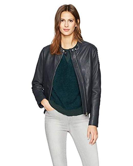 William Rast - Blue Leather Washed Moto Jacket - Lyst